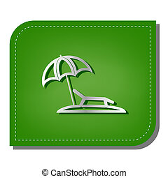 Tropical resort beach. Sunbed Chair sign. Silver gradient line icon with dark green shadow at ecological patched green leaf. Illustration.