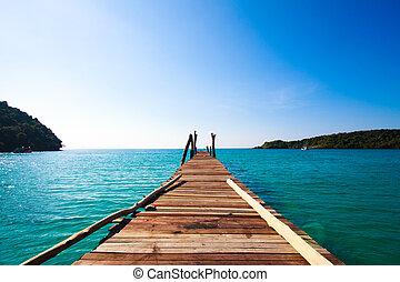 Tropical Resort.  boardwalk on beach