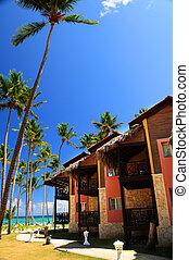 Tropical resort on ocean shore