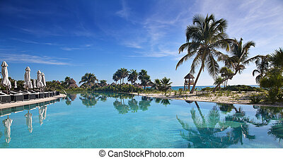 Tropical Resort - Poolside with the ocean in the background ...