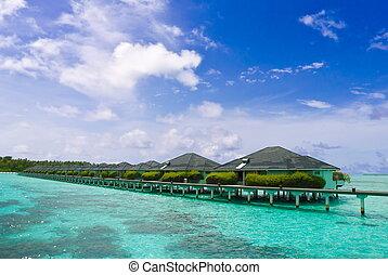 Tropical resort stilt houses