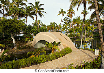 Resort Walkway and Bridge - Tropical Resort Walkway and...