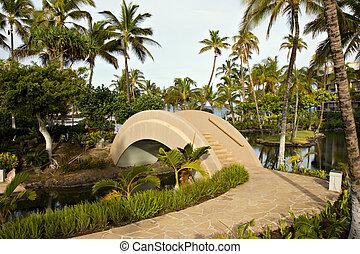 Resort Walkway and Bridge - Tropical Resort Walkway and ...