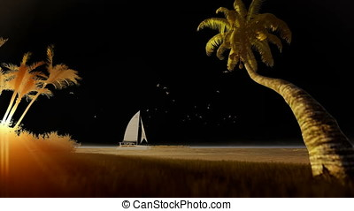 Tropical resort with yacht sailing and woman running on the...