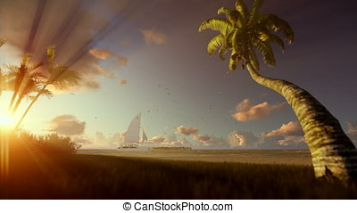 Tropical resort with yacht sailing and woman running on the beach at sunset