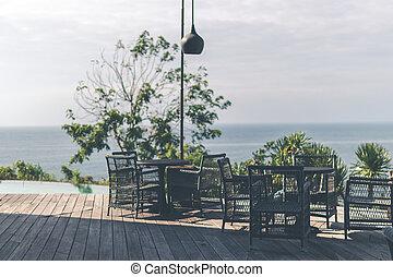 tropical, restaurante, con, mar, vista., soleado, day., espacio, para, text., bali, island.