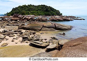 Tropical rocky beach with rain forest