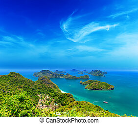 tropical, samui, ang, aéreo, correa, naturaleza, isla, parque nacional, ko, archipiélago, panorámico, mar, tailandia, vista., marina