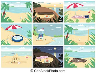 Tropical sand beach and sea flat color vector illustrations ...