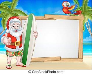 Tropical Santa Beach Background - Cartoon of surfing Santa...