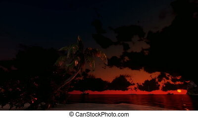 Tropical scene Sunset Time Lapse