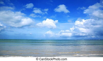 Tropical sea and blue sky background.
