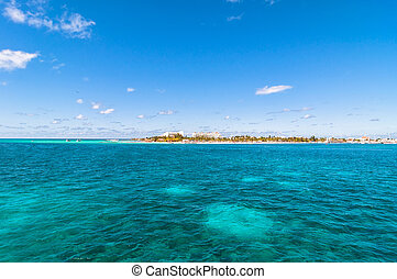 tropical sea and Isla Mujeres coastline, Mexico