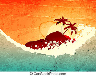 Tropical sea and island - illustration of tropical sea and...