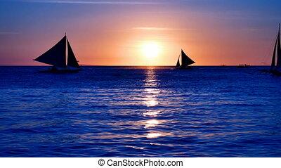 Tropical sea at sunset