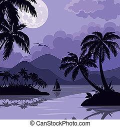 Tropical sea landscape with moon and palm - Exotic tropical ...