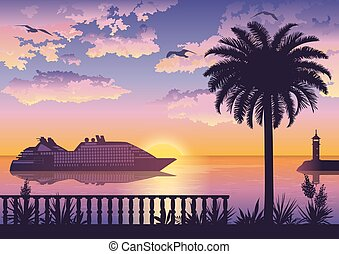 Tropical Sea Landscape with Palm and Ship