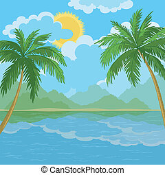 Tropical sea landscape with palm trees