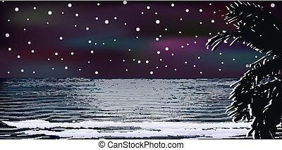 Tropical sea night wallpaper , vector illustration