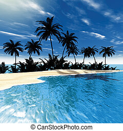 Tropical sea palms - 3D rendering, tropical sea palms