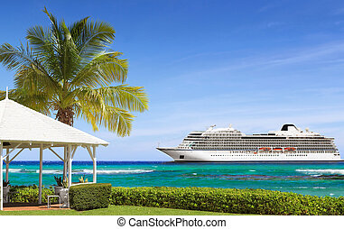 Tropical sea shore and cruise ship
