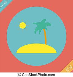Tropical sea small island - vector illustration