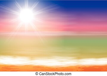 Tropical sea sunset beach background