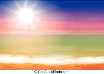 Tropical sea sunset beach background