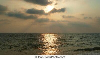 tropical sea sunset on the beach - timelapse