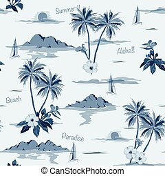 Tropical seamless island pattern monotone in blue background.
