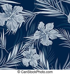 Summer camouflage hawaiian seamless pattern with tropical plants and hibiscus flowers, vector illustration