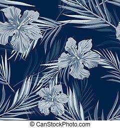 Tropical seamless monochrome blue indigo camouflage...