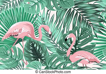 Tropical seamless pattern green leaves flamingos