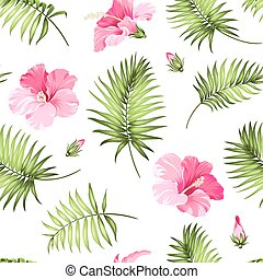 Tropical seamless pattern. Palm trees and hibiscus. Vector...