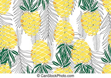 Tropical seamless pattern. Ripe juice fruits. Hand drawn vector background.