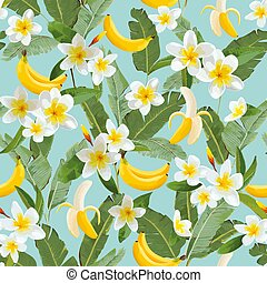 Tropical Seamless Pattern with Bananas and Palm Leaves. Summer Floral Exotic Background for Wallpaper, Fabric, Wrapping Paper. Vector illustration