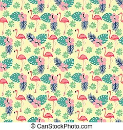 pattern with flamingo and palm leaves, exotic birds and flowers