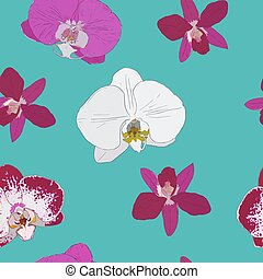 Tropical seamless pattern with orchids flowers. Tropic floral wallpaper .