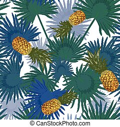 Tropical seamless pattern with pineapples, exotic palm leaves on white background.