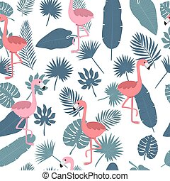 Tropical seamless pattern with pink flamingos and palm leaves