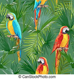 Tropical Seamless Vector Parrot and Floral Summer Pattern....