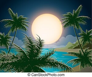 Tropical Seascape - Tropical seascape. Sea island with palm...