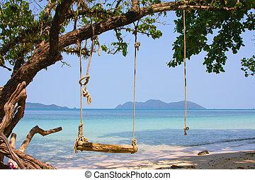 Tropical seascape in island Koh Wai, Thailand.