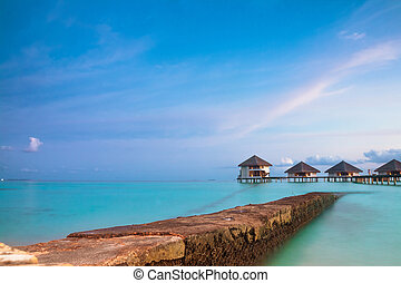 tropical seascape. over-water bungalow, Maldives islands