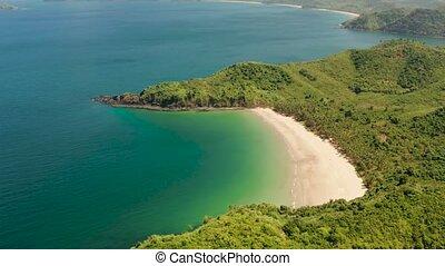 Tropical seawater lagoon and beach, Philippines, El Nido. -...