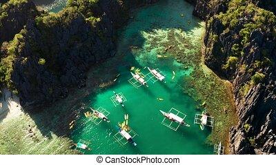 Tropical seawater lagoon, Philippines, El Nido. - aerial...