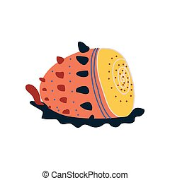 Tropical Shell, Underwater Colorful Sea Creature Vector...