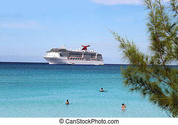 Tropical ship and beach