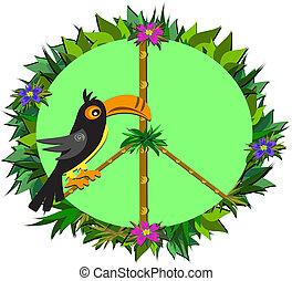 tropical, signo paz, con, tucán