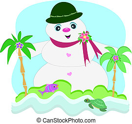 Here is a cute Snowman enjoying the tropical scenery.